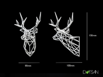 3D Printed Stag Deer 150mm Facing Right  in White Natural Versatile Plastic