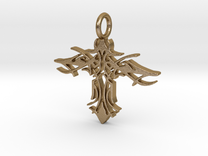 Pendant Tribal Cross Design 02 Model 03 - MCDStudi in Polished Gold Steel