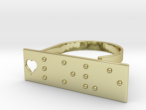 Adjustable ring. Love in Braille. in 18k Gold Plated Brass