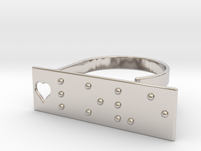 Adjustable ring. Love in Braille. in Rhodium Plated Brass