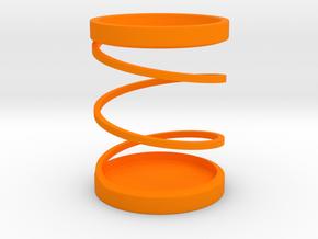 Spiral Pen Stand / Pen Holder in Orange Strong & Flexible Polished