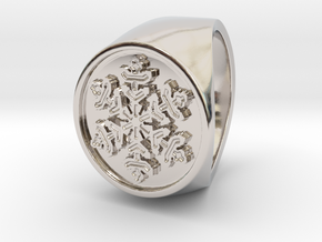 Snowflake - Signet Ring in Rhodium Plated Brass: 9 / 59