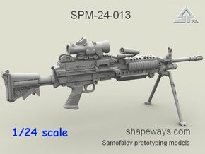 1/24 SPM-24-013 m249 MK48mod0 7,62mm machine gun in Frosted Extreme Detail