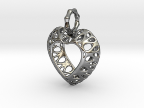 Pendant Heart Be Still True Pendant 02 - MCDStudio in Fine Detail Polished Silver