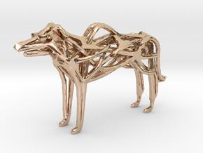 GeoHound Dog Pendant Keychain in 14k Rose Gold