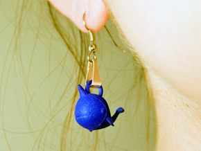 "Whale ""In Disguise"" Earrings in Blue Strong & Flexible Polished"