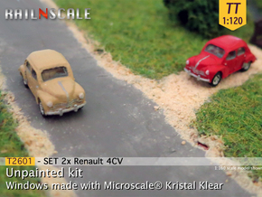 SET 2x Renault 4CV (TT 1:120) in Smooth Fine Detail Plastic