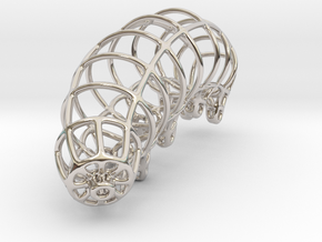 Wireframe Tardigrade in Rhodium Plated Brass