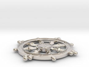 Wheel of Life Pendant - Dharmachakra in Rhodium Plated Brass