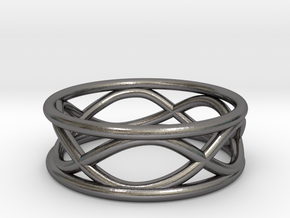 Infinity Ring- Size 7 in Polished Nickel Steel