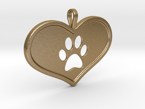 Paw in heart in Polished Gold Steel