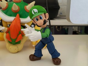 Finger Gun Hands for S.H. Figuarts Mario / Luigi in White Strong & Flexible Polished