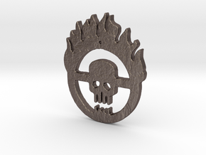 flaming skull in Polished Bronzed Silver Steel