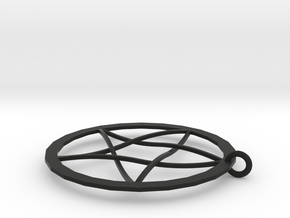 Pentagram Pendent(with Ring) in Black Natural Versatile Plastic