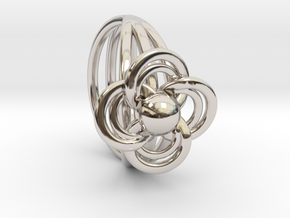FlowerRing Size 60 in Rhodium Plated Brass