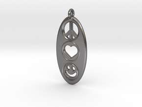 Peace Love Happiness in Polished Nickel Steel