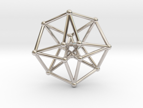 Toroidal Hypercube 35mm 1.5mm Time Traveller in Rhodium Plated Brass