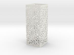 Lamp Square Column - Curved Star Pattern V2 in White Natural Versatile Plastic