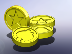 Mario 64 Coin in Yellow Processed Versatile Plastic