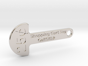 Quarter Shopping Cart Key in Rhodium Plated Brass
