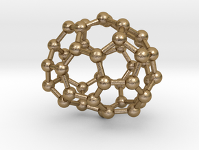 0252 Fullerene C42-31 c2 in Polished Gold Steel