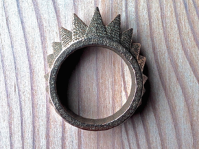 """Nonderso"" Ring - Size Medium in Polished Bronzed Silver Steel"