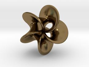 Geometric Pendant -  Mobius Flower in Polished Bronze