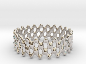 Lattice Ring No.1 in Rhodium Plated