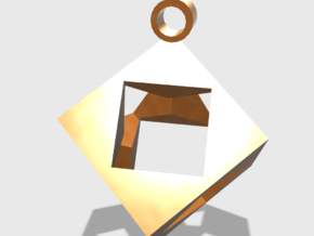 Cube Pendent in 14K Gold