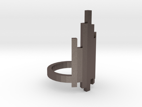 Ring Tower (Size 8) in Polished Bronzed Silver Steel