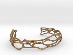 Bracelet abstract #5 medium size in Natural Brass