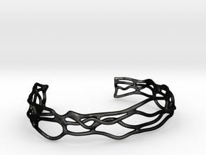 Bracelet abstract #5 medium size in Matte Black Steel