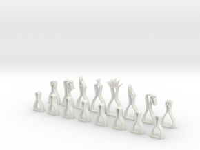 minimal hollow chess set in White Strong & Flexible