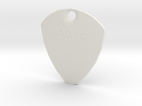 Customizable Plectrum With Hole in White Natural Versatile Plastic