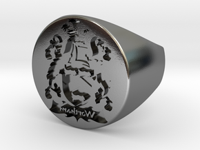 Custom Signet Ring 6 in Polished Silver
