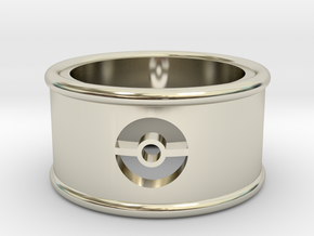 Pokeball Cutout Ring size 7 in 14k White Gold