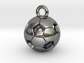 SOCCER BALL D in Fine Detail Polished Silver