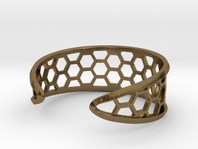 Cuff Bracelet, Honeycomb Mesh in Polished Bronze