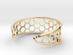 Cuff Bracelet, Honeycomb Mesh in 14k Gold Plated Brass
