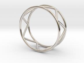 Zig Zag Thumb Ring in Rhodium Plated Brass