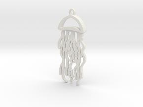Jellyfish Charm in White Natural Versatile Plastic
