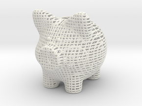 Wire Frame Piggy Bank 3 Inch Tall in White Natural Versatile Plastic