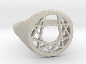 Enneagram Ring - Size 8.5 (18.54 diameter) in Natural Sandstone