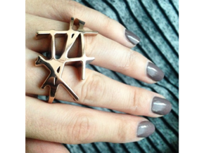 Kengo Ring [US size 5-3/4 (ring) & 6 (middle)] in 14k Rose Gold Plated Brass