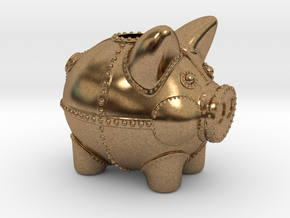Steampunk Piggy Bank 2 Inch Tall in Natural Brass