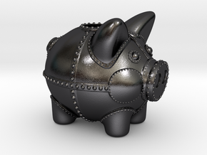 Steampunk Piggy Bank 2 Inch Tall in Polished and Bronzed Black Steel