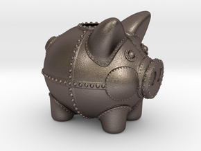 Steampunk Piggy Bank 2 Inch Tall in Stainless Steel