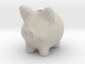 Piggy Bank Smooth 2 Inch Tall in Natural Sandstone