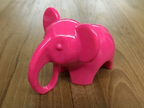 Baby Elephant Toy / Sculpture in Pink Processed Versatile Plastic