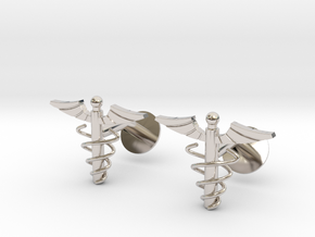 Doctor's Caduceus Cufflinks in Rhodium Plated Brass